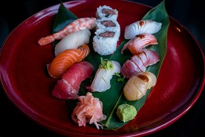 Red sushi platter with seafood sushi