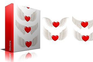 Flying Hearts Vectors, PNG & Brushes
