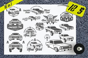16 in 1 Set of Lowrider cars