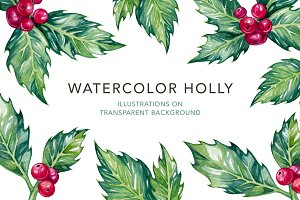 Watercolor Holly Illustrations