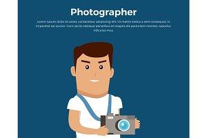 Photographer Concept Banner Vector Illustration.