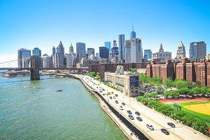 View on Brooklyn bridge and NY