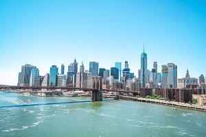 Brooklyn bridge with city