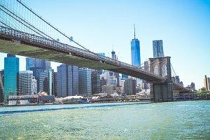 Brooklyn bridge with buildings