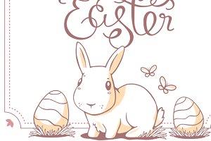 Set of Happy Easter greeting cards