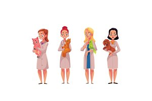 Female, woman veterinarian doctors, vets holding cat, parrot, dog, pig