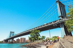 Manhattan bridge with people, NY
