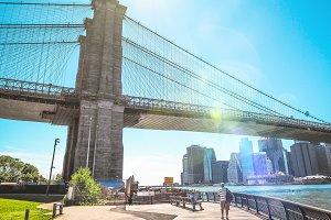 Close up sunny Brooklyn Bridge, NY