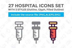 27 Hospital Icon Set