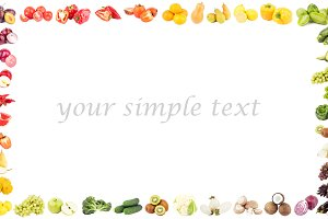 Rectangular frame made from colorful fruits and vegetables, isolated