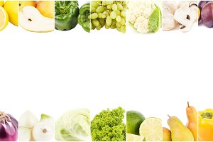 Lines from different colorful vegetables and fruits, isolated