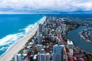 Gold Coast Surfers Paradise town at dusk