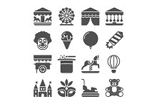 Carnival in amusement park icons