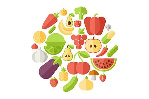 Fruits circle flat illustration