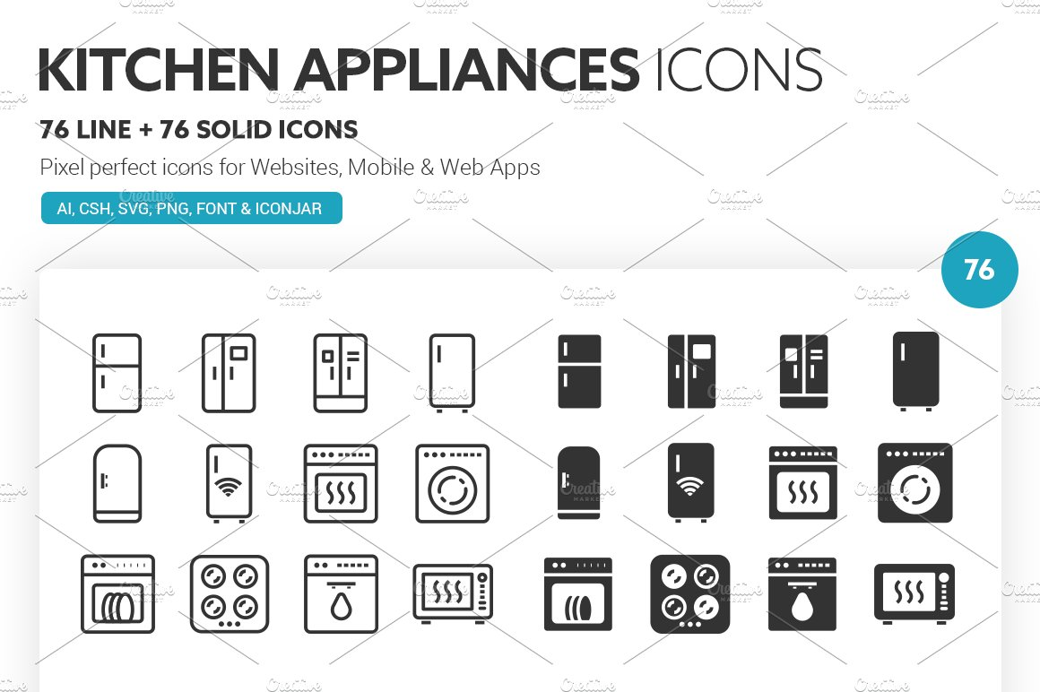 Kitchen Appliances Icons Icons Creative Market