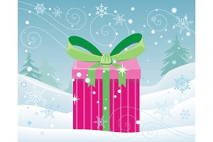 Christmas Pink Gift Box with Bow on Snow Landscape
