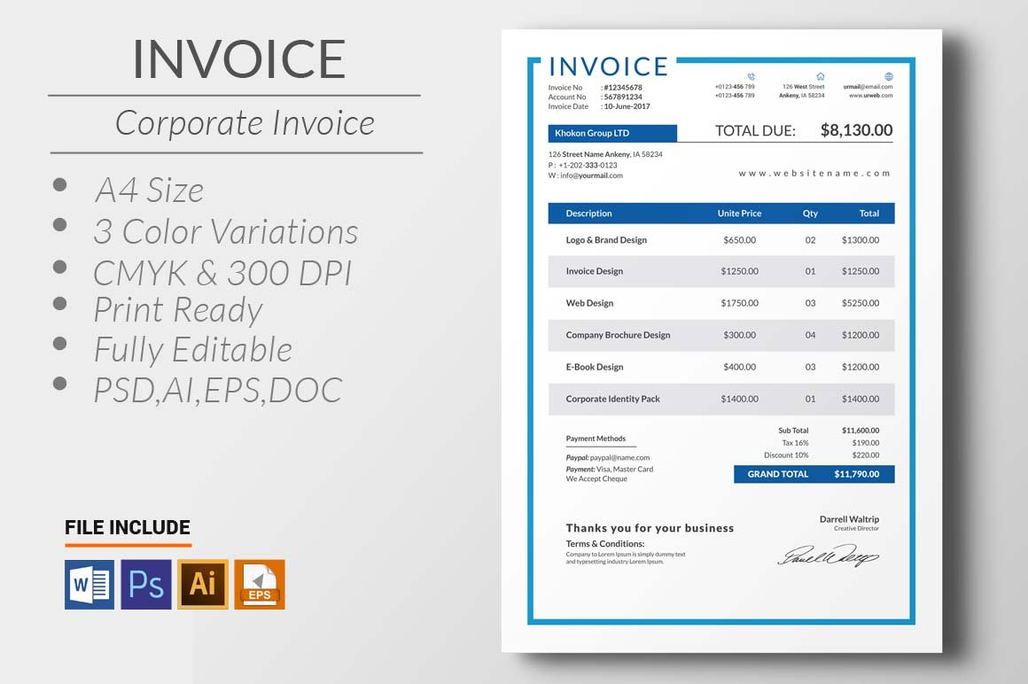Simple html invoice template stationery templates creative market 6 invoice by mri studio in templates maxwellsz