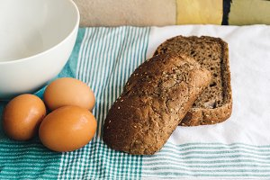 Eggs and slices of brown bread