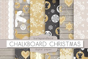 Chalkboard/wood christmas digital pa