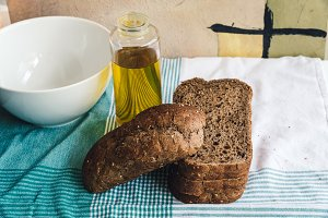 Olive oil and Brown bread