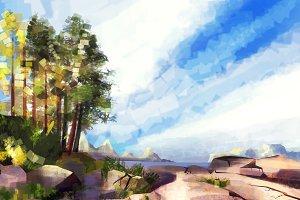 Illustration of panoramic landscape animation