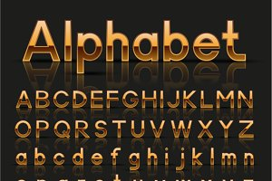 Golden and silver alphabets