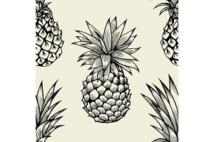 Vector pineapples hand drawn sketch.