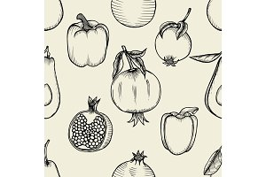 Vector seamless pattern of sketched fruit