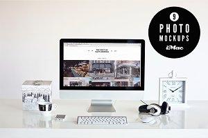 ★ B&W ★ 9 iMac photo mockups