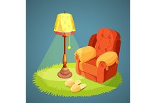 Armchair with pillows, green carpet on floor, lamp shade