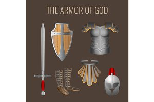 Long sword of spirit, readiness shield, armour salvation helmet, breathpate