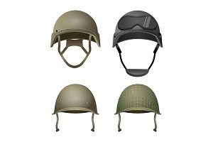 Set of military helmets. Classical, with goggles, combat and projection lines