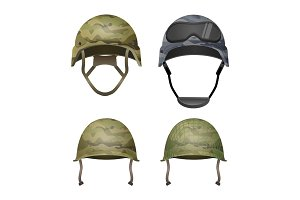 Set of military camouflage helmets in khaki camo colors
