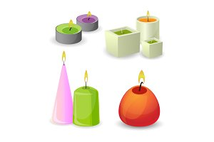 Collection of different aroma candles for relax. Little relaxation flame