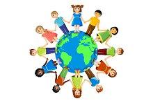 Different children standing around earth planet. Friendship and international relationships