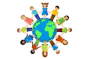 Different children standing around earth planet. Friendship and international relationships