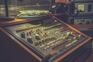 Mixing console of the seventies