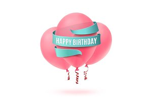 Happy Birthday written on blue ribbon with three pink balloons.