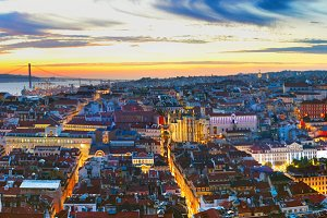 Panorama of Lisbon at twilight
