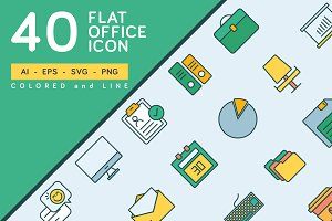 40 Flat Office Icon Pack