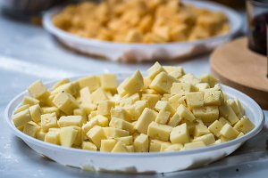 sliced cheese. diced