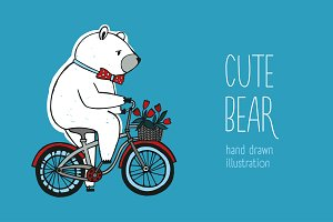 The cute bear on the bicycle
