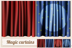 Magic red and blue curtains