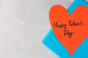 Blue box present for Father's day with red heart