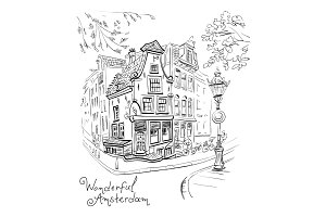 Vector City view of Amsterdam house and lantern