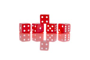 Red dice on white isolated