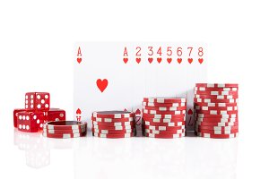 Poker set on white isolated.