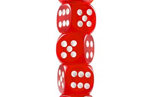 Pile of red dice over white