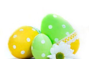 Easter eggs and spring flower decoration on white