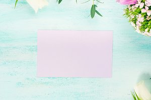 Empty purple card flowers tulips roses spring pastel colors